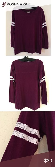 Madewell Longsleeve Varsity Shirt This awesome Madewell maroon long sleeve tee is perfect for wearing with leggings or pairing with your favorite jacket! Distressed stripes for an extra chic look. In perfect condition. Size Small. Madewell Tops Tees - Long Sleeve