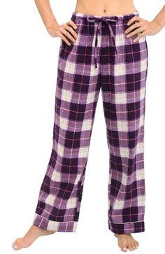 Womens Printed Flannel PJ Pants, Size: Tall medium, navy plaid or ...