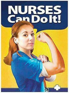 Nurse ~ You Betcha! Rn Nurse, Nurse Life, Nurse Stuff, Medical Humor, Nurse Humor, Nurses Station, Nursing Profession, Hello Nurse, Rosie The Riveter