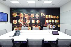 - Designed by Tokyo firm Klein Dytham, the colorful interior has a koi pond mobile food stalls. Corporate Office Design, Modern Office Design, Office Interior Design, Office Interiors, Office Designs, Office Ideas, Visual Merchandising, Tokyo Architecture, Office Wall Graphics