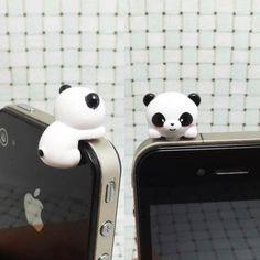 awesome Adorable White Black Bear Hanging Little Panda Dust Plug 3.5mm Phone Accessory Cell Phone Plug iPhone Dust Plug Samsung Plug Phone Charm Headphone Jack Earphone Cap Ear Cap Dust Plug