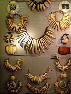 Collection of Fijian whale ivory necklaces, Archeology and Anthropology Museum, Cambridge, England.