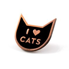"""No, really, we love cats - Copper pin with black enamel - Rubber backing - Measures 1"""" tall x 1"""" wide"""