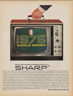 """1968 SHARP vintage print advertisement """"1975 World Series"""" ~ Will your 1968 color portable still be sharp? Of course. If it's Sharp. Model CJ-45 ~"""