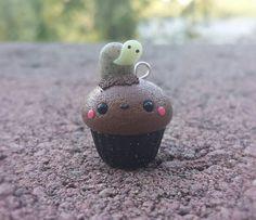 Graveyard Cupcake Charm-Halloween Charm-Kawaii Charm-Polymer Clay Charm-Handmade Charm-Polymer Clay Jewelry-Charm Pendant-Holiday Charm