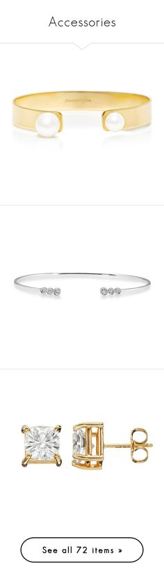 """""""Accessories"""" by ididnot ❤ liked on Polyvore featuring jewelry, bracelets, accessories, gold, cultured pearl jewelry, cuff jewelry, freshwater pearl jewelry, cuff bangle, jemma wynne jewelry and diamond cuff bangle"""