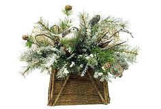 Birds & Evergreen Basket
