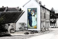 French Street with a colourful Painting on the side of a house - Cathy Casey Treasures Photograph