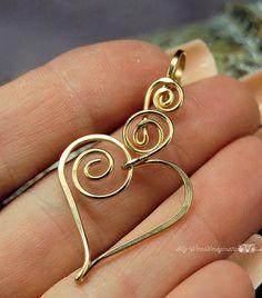 Beautiful heart golden pendant