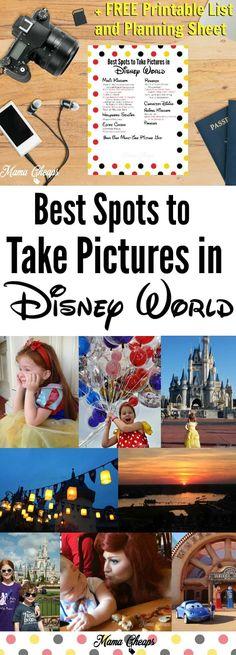 Best Disneyland tips 2019 - Best Spots to Take Pictures in Disney World + FREE Printable List & Planning She. Disney World Fotos, Disney World Pictures, Disney Worlds, Disney World Tips And Tricks, Disney Tips, Disney Parks, Disney Money, Orlando Disney, Disney Films