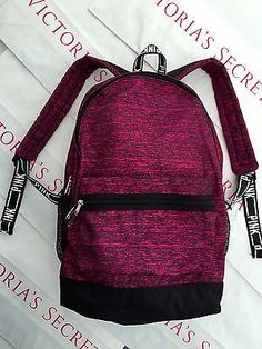 New Victoria's Secret PINK Campus Canvas Backpack Book Bag Tote Maroon | pinterest : @tileeeeyahx3 ☼