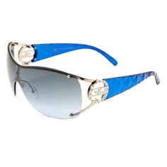 Stay fashionable in these oversized rimless sunglasses. These sunglasses have rhinestones surrounding the GLO logo while the arms have a textured design.
