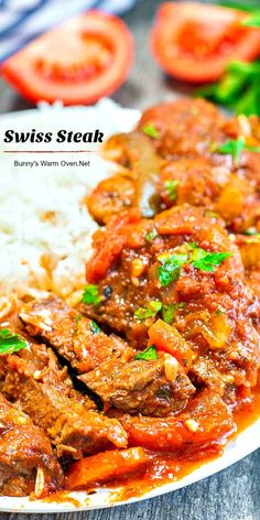 Swiss Steak…Cooking beef in tomato sauce with root vegetables produces an amazing concoction that is full of flavor and absolutely delicious. It's my favorite way to eat beef. Swiss Steak Recipes, Beef Recipes For Dinner, Meat Recipes, Crockpot Recipes, Cooking Recipes, Healthy Recipes, Cooking Beef, Kale Recipes, Drink Recipes