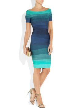 Hervé Léger|Ombré bandage dress|Shown here with: Bottega Veneta ring, Givenchy shoes, Diane von Furstenberg clutch