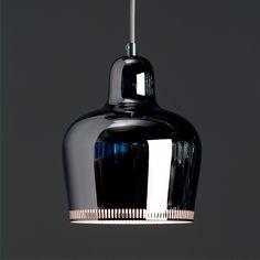 Alvar Aalto A330S - Golden Bell Ceiling Lamp - Artek Ceiling Lamps. Chrome, $320 #finnstyle #artekulatemyspace