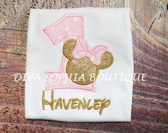Artículos similares a Chicas oro y rosa Minnie Mouse inspirado en la camisa - apliques y con monograma en Etsy