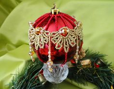 Beautiful beaded Christmas Balls