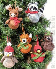 Crochet Christmas Ornament Pattern, Woodland Animal Crochet Pattern, Crochet Christmas Pattern, Amigurumi Christmas Pattern, Animal Ornament Crochet Christmas Pattern Crochet Ornament by CrochetToPlay Fox Ornaments, Crochet Ornaments, Crochet Crafts, Yarn Crafts, Crochet Projects, Crochet Snowflakes, Crochet Ornament Patterns, Ornaments Ideas, Owl Ornament