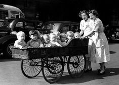 Reg Birkett: Ten babies from Coral Street Day Nursery on their morning outing in a long basketwork pram. Antique Photos, Vintage Pictures, Vintage Photographs, Old Pictures, Vintage Images, Old Photos, Landau Vintage, Vintage Pram, Photo Vintage