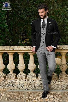 Italian bespoke wedding suit, black wool jacket, prince of wales pants and waistcoat style 1210 Ottavio Nuccio Gala, 2015 Gentleman collection.