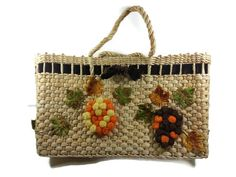 #EcoChic #vintage #jewelry #Fashion #etsyretwt Vintage Straw Tote Handbag Bark Cloth 1950s by EclecticVintager, $40.00
