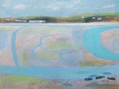 Hayle Estuary by Elaine Pamphilon | Mixed media on canvas | 120 x 160 cm #elainepamphilon #tannerandlawson #hayle #cornwall