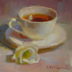 "Daily Paintworks - ""Tea on Pink"" by Elena Katsyura"