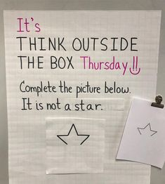 It's Think Outside the Box Thursday. 🙌 Complete the picture. One thing is for sure. It's not a Star. ⭐ From a peacock to Cinderella's… Teaching Tools, Teaching Resources, Teaching Art, Art Classroom, Future Classroom, Bell Work, Responsive Classroom, Thinking Outside The Box, Morning Messages