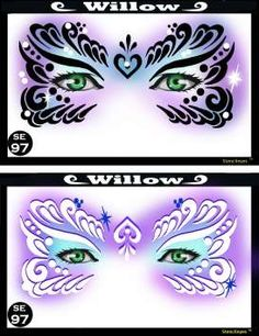 Willow face painting stencil