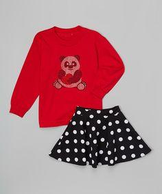 Love this Red Panda Heart Tee & Skirt - Toddler & Girls by Beary Basics on #zulily! #zulilyfinds