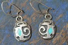 Old Hopi Ingot Wrought Sterling Silver & Natural Sky Blue Turquoise Earrings.