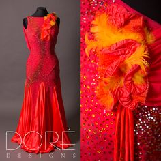 Red Smooth w/ Ruffle & Yellow Feathers