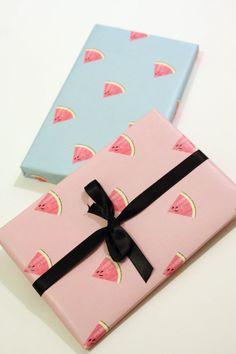Papier Cadeau à imprimer  Pastèque bleu et par MySweetPaperCard