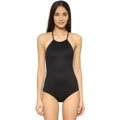 Eberjey So Solid Mason Swimsuit ($160) ❤ liked on Polyvore featuring swimwear, one-piece swimsuits, black, eberjey swimwear, black swim suit, swim costume, swimsuit swimwear and black swimsuit