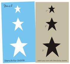 STENCIL Trio Country Primitive Star Shapes U Paint Blocks Floor Cloth Towel Art