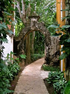 A distinctive 17th century Moorish arch unites two renovated buildings here at the Hacienda.