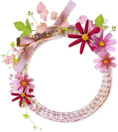 Pink Round Transparent Frame with Flowers