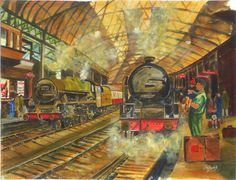 Tom McDonald's painting of a 1957 train station captures the holiday travel excitement of the child as he waits patiently amid the steam and grime of this bygone age. - See more at: http://www.weframeanyprint.co.uk/pictureView.php?productID=26147131#sthash.MkYPzD9B.dpuf