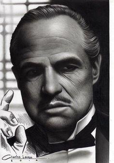 Art Optical, Optical Illusions, Brando Godfather, Marlon Brando, Pencil Portrait, Portrait Art, Realistic Pencil Drawings, Film Icon, Aztec Warrior