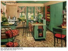 They were canning a lot of, um, stuff here in this vintage Armstrong Flooring ad. Vintage Interior Design, Vintage Interiors, Interior Design Kitchen, Design Vintage, Luxury Interior, 1940s Home Decor, Vintage Home Decor, Vintage Homes, Apartment Therapy