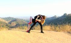 Emma Roberts & Evan Peters posing for Tyler Shields
