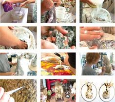 the steps of the paper mache sculpting with Melanie Bourlon