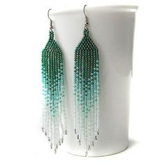 Green / teal / white seed bead earrings beadwork by Anabel27shop, - Picmia