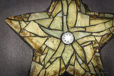 Gold Glittering Mosaic Star Christmas Tree Ornament by CherieBosela on Etsy