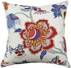 "blue red & yellow floral fabric ""Samoan Plantation, Gem"""
