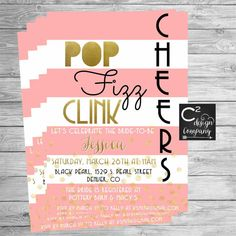 Pink Pop Fizz Clink CHEERS Shower Invitation by cSquaredDesignCo