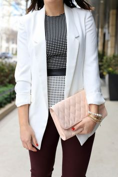 White Blazer and peplum top outfit - @mystylevita