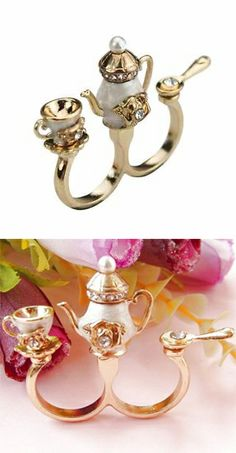 Teapot, tea cup & spoon ring... reminds me of Beauty & the Beast