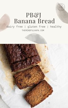 This Gluten Free PB&J Banana Bread Recipe is filled with chocolate-y peanut butter & jelly cups, and topped with a swirl of extra raspberry jelly. Browned edges, and a super tender and moist center, this is bound to be your new go-to banana bread recipe! Best Gluten Free Desserts, Healthy Cake Recipes, Sugar Free Recipes, Sweet Recipes, Dairy Free Banana Bread, Easy Banana Bread, Banana Bread Recipes, Soft Ginger Cookie Recipe, Soft Ginger Cookies
