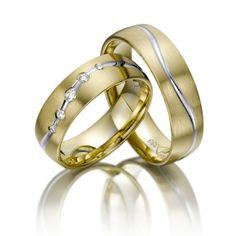 Trauringe/Wedding Rings 123gold Fantasy, Gelbgold 375/- Weißgold 375/- Breite: 6,00 - Höhe: 1,60 - Steinbesatz: 5 Brillanten zus. 0,1 ct. tw, si (Ring 1 mit Steinbesatz, Ring 2 ohne Steinbesatz)